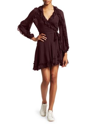 Cascade Ruffle Wrap Dress