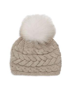 Beatrice Fox Fur Pom Pom Cable Knit Beanie