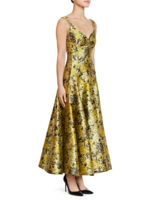 Verna Floral Garden Jacquard Tea Dress in Yellow Black