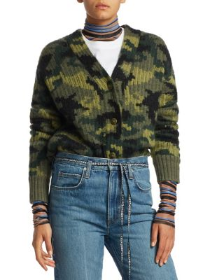 Camo Jacquard Knit Crewneck Sweater