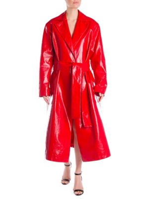 PVC Wrap Front Trench Coat
