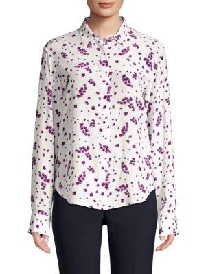 Long-Sleeve Silk Button-Down Shirt
