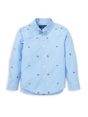 Little Boy's Sneaker Stripe Poplin Shirt