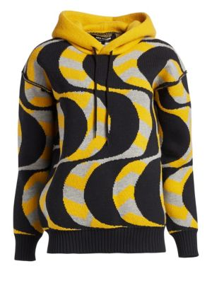 Wool-Blend Geometric Knit Hoodie