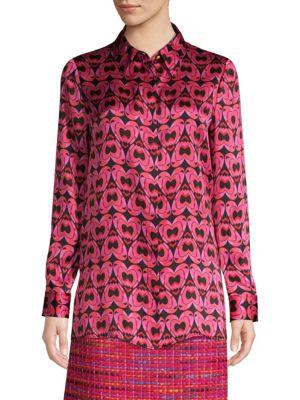 ESCADA SPORT Heart Print Silk Blouse