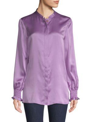 ESCADA SPORT Smocked Sleeve Silk Blouse