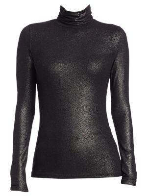 MAJESTIC Metallic Turtleneck Top in Black