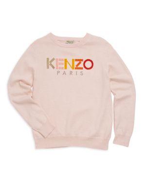 Little Girl's & Girl's Colorblock Logo Crew Sweater