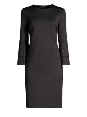 DONNA KARAN Laser Cut Scuba Sheath Dress