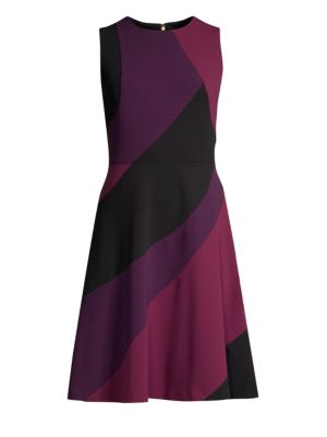 DONNA KARAN Swirl Panel Flared Dress