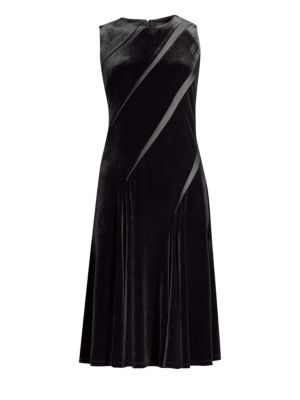 DONNA KARAN Velvet Diagonal Pleat Shift Dress