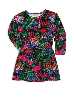 Little Girl's & Girl's Velvet Jungle Print Dress