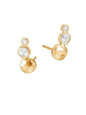 JOHN HARDY Dot 18K Hammered Gold & Diamond Stud Earrings