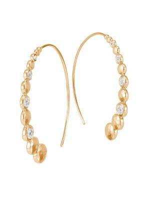 JOHN HARDY Dot 18K Hammered Gold & Diamond Hoop Earrings