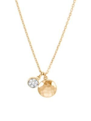 Dot Hammered 18K Yellow Gold & Diamond Pendant Necklace