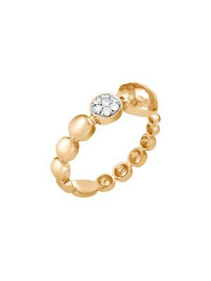 Dot 18K Hammered Gold & Diamond Ring