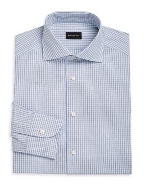 ERMENEGILDO ZEGNA | Bold Windowpane Check Cotton Shirt | Goxip