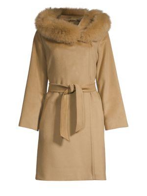 Mango Fox Fur-Trim Wool Short Coat