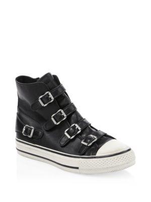 Virgin Leather Buckle High-Top Sneakers
