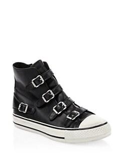 ASH Virgin Leather Buckle High-Top Sneakers,Black