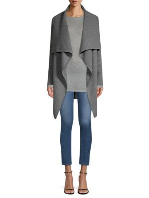 Ribbed Draped Cashmere Cardigan