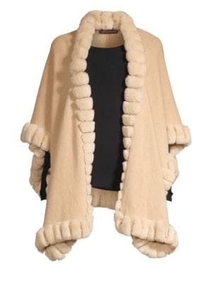 GLAMOURPUSS | Oversized Rabbit Fur-Trim Cashmere Cape | Goxip