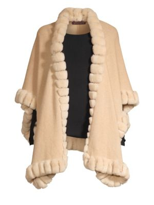 GLAMOURPUSS NYC | Oversized Rabbit Fur-Trim Cashmere Cape | Goxip