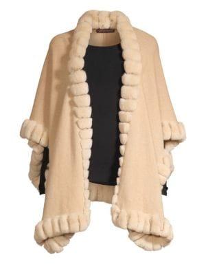GLAMOURPUSS | Oversized Rabbit Fur-Trim Cashmere Cape | Goxip