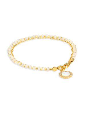 White Sapphire & 18K Yellow Goldplated Charm Bracelet