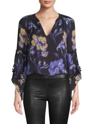 RAMY BROOK Dina Silk Floral Cropped Blouse