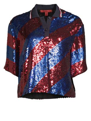 TOMMY HILFIGER COLLECTION Sequin Silk Rugby Polo