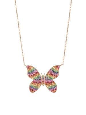 Large 14K Yellow Gold & Rainbow Diamond Butterfly Pendant Necklace