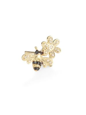 Bee & Flower 14K Yellow Gold, Sapphire & Two-Tone Diamond Left Stud Earring