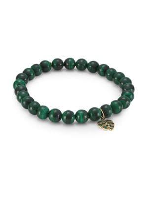 14K Yellow Gold, Emerald & Malachite Monstera Bracelet