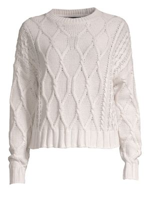 360CASHMERE Alice Cable Knit Cropped Sweater