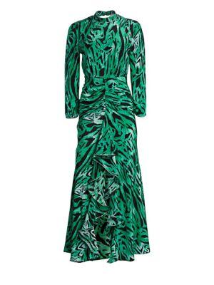 RIXO LONDON Lucy Tiger Print Silk Maxi Dress