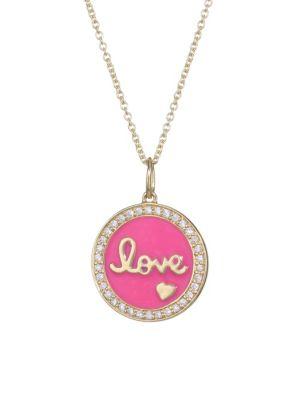 Diamond, Pink Enamel & 14K Yellow Gold Love Medallion Pendant Necklace