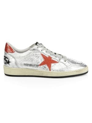 Cracked Leather Ball Star Sneakers