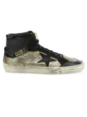 Metallic Star-Embroidered High-Top Sneakers