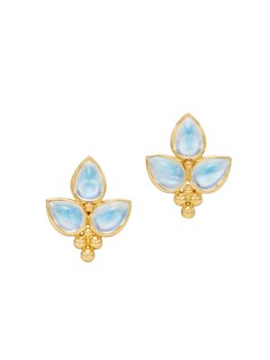TEMPLE ST. CLAIR Foglia 18K Yellow Gold & Moonstone Trio Stud Earrings