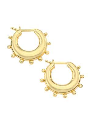 Classic Gold 18K Yellow Gold Dangle Hoop Earrings