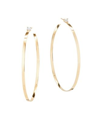 14K Gold Solitaire Diamond Hoops
