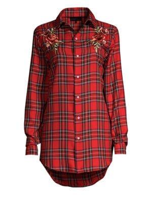 Embroidered Plaid Shirt Dress