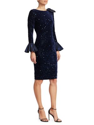 TERI JON BY RICKIE FREEMAN Taffeta Bell-Sleeve Velvet Sequin Bodycon Dress