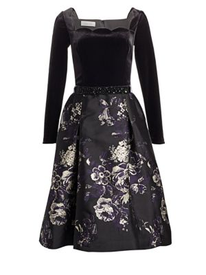 TERI JON BY RICKIE FREEMAN Scalloped Floral Brocade Fit-And-Flare Dress