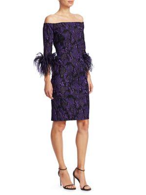 TERI JON BY RICKIE FREEMAN Off-The-Shoulder Feather & Jacquard Sheath Dress