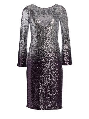 TERI JON BY RICKIE FREEMAN Long-Sleeve Sequin Cocktail Shift Dress