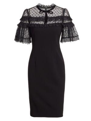TERI JON BY RICKIE FREEMAN Short-Sleeve Crepe & Pointe de Spree Sheath Dress
