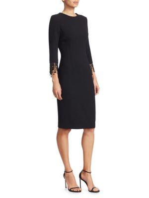 TERI JON BY RICKIE FREEMAN Long-Sleeve Beaded Fringe Crepe Sheath Dress