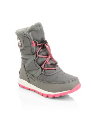 Kid's Whitney Waterproof Faux Fur Lace-Up Boots